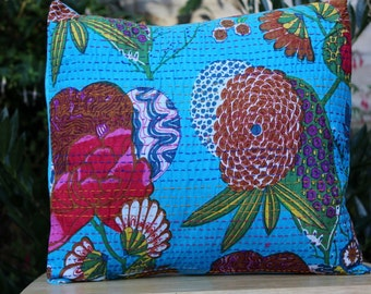 SALE. Floral cushion covers, kantha  cushion cover, decorative pillow case, country style cushions,red, blue, orange, green