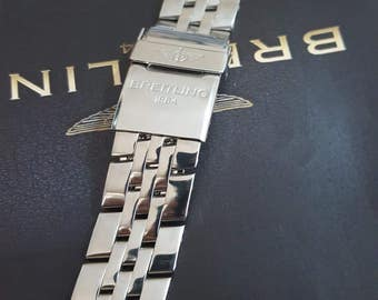 22mm replacement stainless steel bracelet with deployment clasp fits to breitling watches.