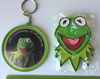 Muppets vintage keychains Hallmark new in package Jim Henson Kermit the Frog Miss Piggy