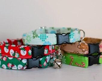 Cat Collar-Breakaway Cat Collar-Christmas Cat Collar-Snowman Cat Collar-Holiday Cat Collar-Festive Cat Collar-Cute Cat Collar-Custom Collar