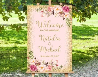 Welcome To Our Wedding Sign, Blush Pink Welcome Wedding Sign, Large Welcome Sign, Wedding Signs Printable, Printable Welcome Sign
