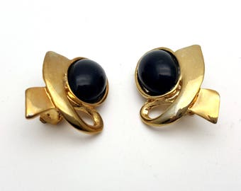 Clip On Modern Black and Gold Tone Metal Stud Earrings Vintage 80s Fashion Simple Modern Modernist Industrial Steampunk