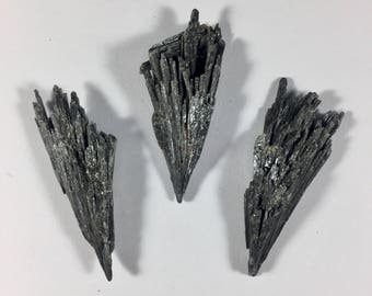 Black Kyanite Fan - Raw Kyanite Blades - Great for Collecting, Pendant making, Reiki, chakra, wicca and more