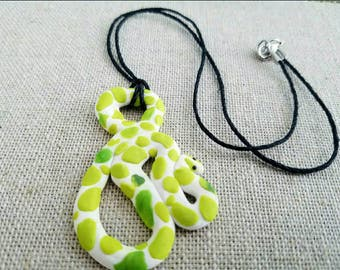 Polymer clay green/yellow spotted snake charm black chord necklace