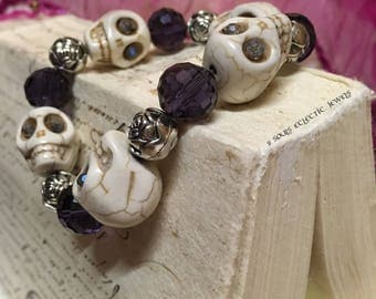 White Skull Rose and Purple Crystal Punk Goth Bracelet Day of the Dead Dia De Los Muertos Halloween Howlite Grunge Spooky Unique Quirky