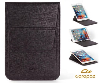 iPad Mini Case Leather - iPad Mini Pouch - iPad Mini Cover - iPad Mini Sleeve - Stand Function - Grained Leather - BLACK