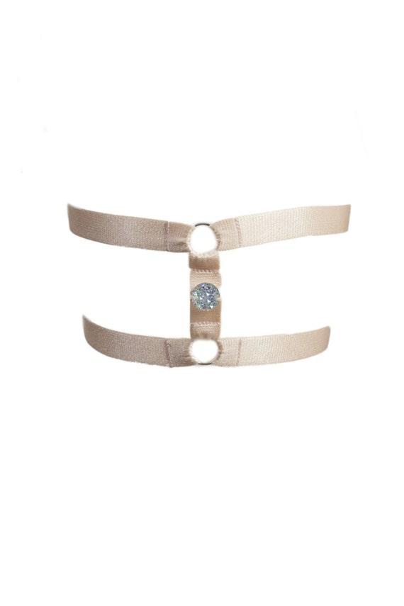 Handmade Silk-Adjustable Crystal Embellished Garthers, Made-to-Order/Bespoke/Custom UK