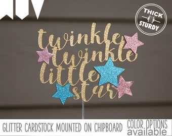 twinkle twinkle little star cake topper,baby shower cake topper, kids birthday, Glitter party decorations, cursive topper