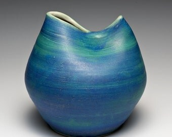 Hand Thrown Aqua & Blue Stoneware Vase