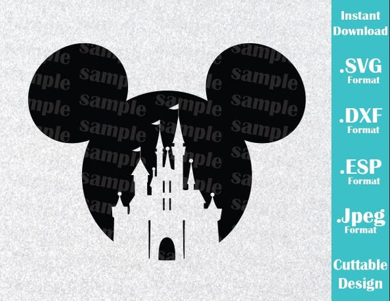 INSTANT DOWNLOAD SVG Disney Inspired Castle Mickey Mouse Ears for Cutting Machines Svg, Esp, Dxf and Jpeg Format Cricut Silhouette from JPrintablesShop on ...