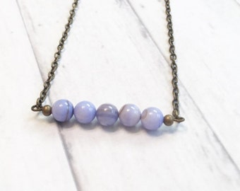 Handmade Light Purple Shell Beaded Bar Necklace Pendant Necklace Antique Brass Necklace Simple Hobo Bohemian Necklace