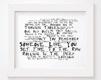 Noir Paranoiac ADELE Art Print Typography Lyrics Poster - Signed & Numbered Limited Edition Unframed 10x8 Inch Album Wall Art Poster