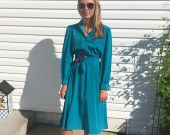 Beautiful Sasson Vintage Dress, Retro Eighties Outfit, Small Turtleneck Dress, Teal and Fuchsia Dress