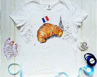 Hand Painted Custom T-Shirts - French Clothing - Present For Her - Birthday Gift For Women Shirt - Paris France-Flawless Shirt