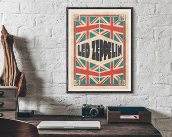 British Music Bands Union Jack Vintage Poster Featuring The Beatles, Led Zeppelin, The Who, The Jam
