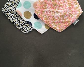 3 Pack Cotton / Bamboo Dribble Bib - dots and hearts