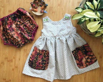 Girls Dress with Pockets - The Sadie Dress - Size T1, T2, T3, T4 - Custom Made for baby, toddler, and children