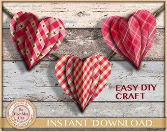 Easy DIY heart wreath craft project. Homespun country inspired, printable digital instant download. Valentine.