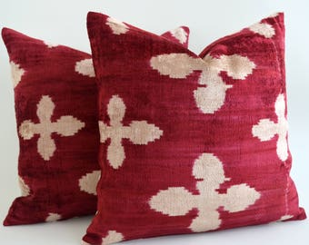 SALE ! - Handwoven red velvet pillow, silk, cushion, red, ikat pillows, silk pillow, couch pillow, throw pillows, moroccan pillow