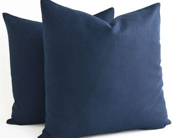 All SIZE Navy Blue Linen Pillow Cover, Linen Throw pillow, Decorative Pillow Cover, Navy Linen Pillow Cover, Cushion Cover, Modern Pillow