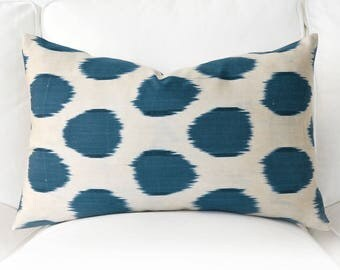 Handwoven Silk Organic Modern ikat pillows-Ivory Blue Pillows-Dark Blue Pillow -Blue Silk Pillow Cover-Solid Blue Pillow-Marine Blue Pillow