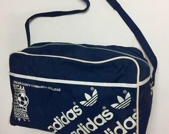 Vintage Adidas Bag shoulder duffel 80's vintage adidas trefoil 1984 navy blue soccer bag