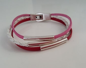 """""""PINK RED WHITE"""" leather strap"""