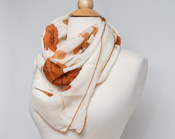 Vintage Cream Colored Silky Scarf with Orange Butterfly and Leaf Print