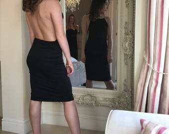 Black backless diamonte strap dress