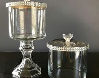 Glass Storage Jar Pair