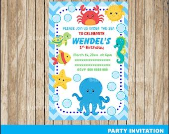 50% OFF SALE Under The Sea Boy invitation; printable Under The Sea Birthday invitation Digital File