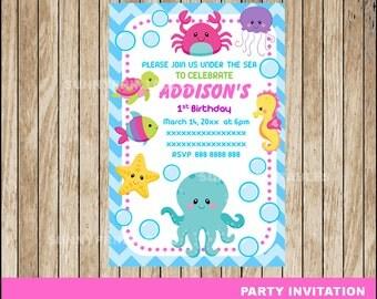 80% OFF SALE Under The Sea girl invitation; printable Under The Sea Birthday invitation, Pink Under The Sea party invitation Digital File