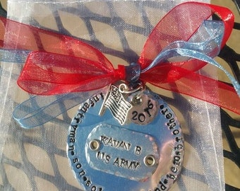 Personalized Hand Stamped Ornament to honor Military Family Member