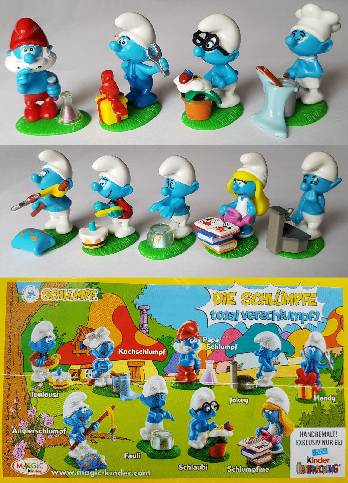 smurfs cake topper 9 figure set birthday party cupcakes figurines kinder surprise from