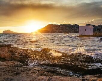 Moment, beach photo, sea, waves, sunset, mountain
