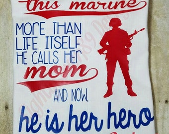 Proud Mom of a US Marine; Mother of a Marine; Love a Marine; Military Shirt