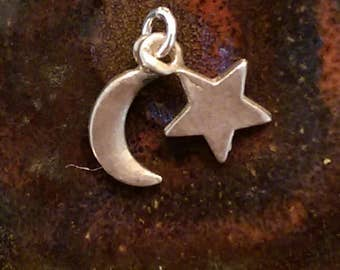 Vintage sterling silver crescent moon and star celestial charm pendant or keychain charm