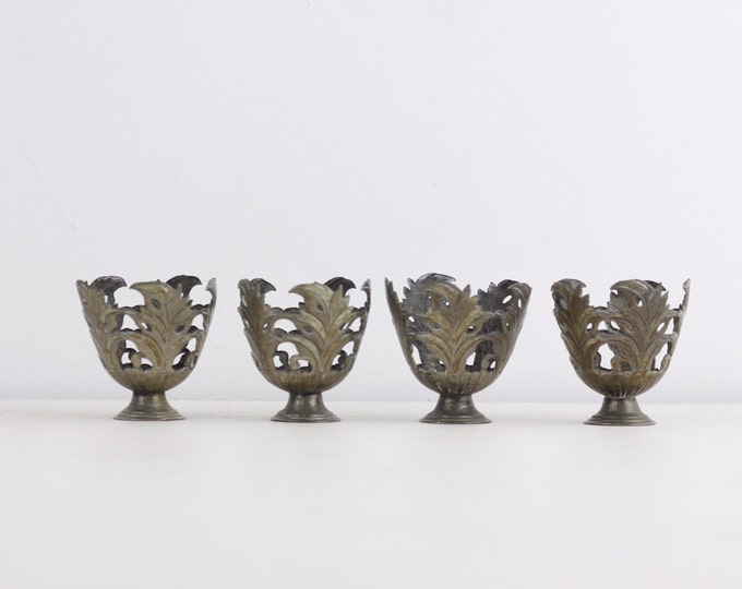 Vintage metal eggcups, set of 4 egg cups, egg holders, organic leaf shaped egg cups