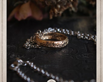 RING on necklace inspired Tolkien Elvish writing COS012