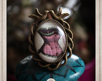 Pink CORSET ring adjustable burlesque bronze cabochon and glass 18x25mm birds BGCB052