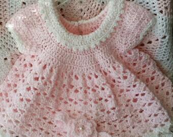 Newborn baby's dress, 100% Baby Soft Acrylic baby girl dress, 0-6 Month US Numeric Size