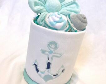 Nautical diaper cake gift Baby shower centerpiece Nautical baby shower Nautical baby shower decor Unique baby shower gift Baby sprinkle gift