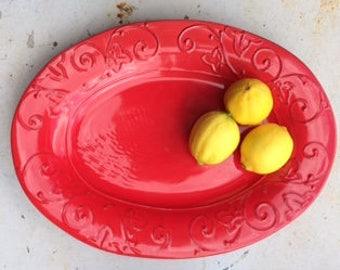 Gorgeous bright red vintage ceramic serving party platter
