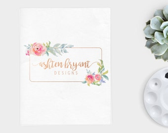 Gold and floral logo,  Logo Design, initials, Pre-Made Logo Design, Logo Design Premade Branding Package, stamp, Photography Logo, watermark