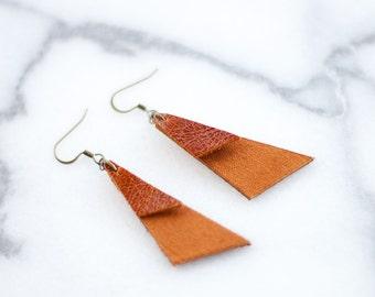 Layered Leather Geo Drop Earrings