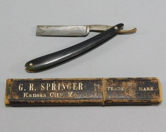 Vintage Pixie Straight Razor / Antique Straight Razor / George Hess / Geo. Hess / Celluloid Handle / G. R. Springer / Cardboard Razor Case