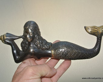 "MERMAID solid brass aged heavy decoration stunning hand made statue 10"" shell"