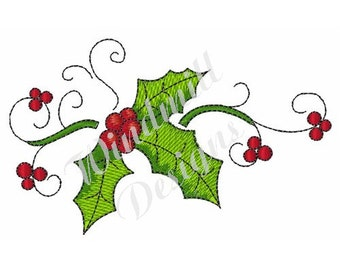 Holly Decoration - machine embroidery design