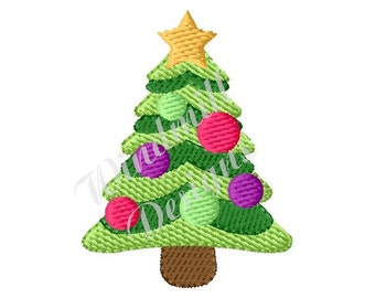 Decorated Christmas Tree - Machine Embroidery Design