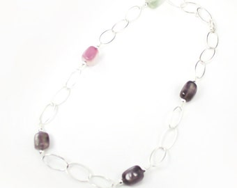Lovely Handmade Amethyst & Aqua Sterling Silver Necklace